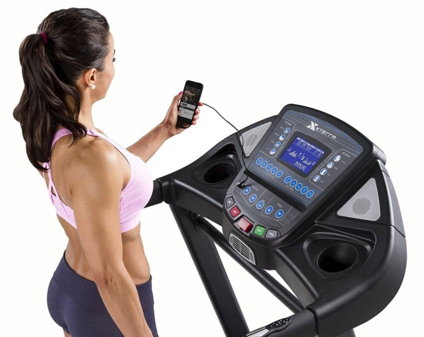 The Xterra Fitness Treadmill Audio Speakers Used With iPhone Cable